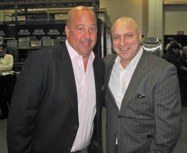 "Andrew Zimmern and Tom Colicchio backstage at the 2012 Keep Memory Alive ""Power of Love Gala"" tribute to Muhammad Ali's 70th birthday at MGM Grand Garden Arena on Saturday, Feb. 18, 2012."