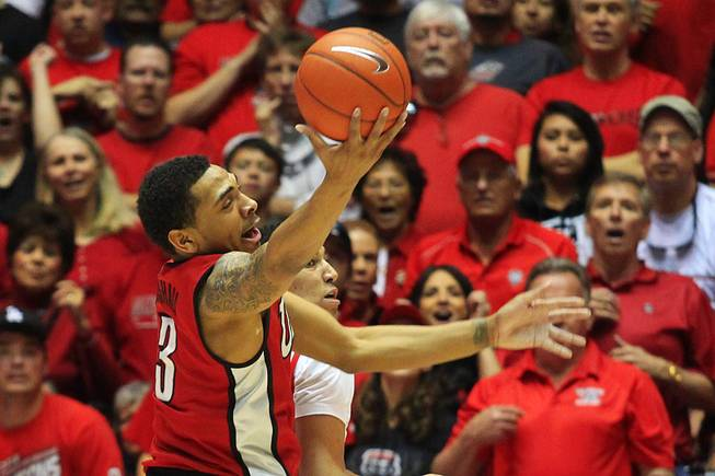 UNLV guard Anthony Marshall grabs a rebound against New Mexico during their game Saturday, Feb. 18, 2012 at The Pit in Albuquerque, N.M. New Mexico won 65-45 to take sole possession of first place in the Mountain West.