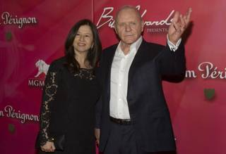 Actor Sir Anthony Hopkins and his wife Stella Arroyave arrive for the 16th annual Keep Memory Alive