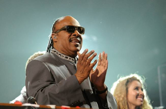 "LAS VEGAS, NV - FEBRUARY 18:  (EXCLUSIVE COVERAGE)  Recording artist Stevie Wonder performs at the Keep Memory Alive foundation's ""Power of Love Gala"" celebrating Muhammad Ali's 70th birthday at the MGM Grand Garden Arena February 18, 2012 in Las Vegas, Nevada. The event benefits the Cleveland Clinic Lou Ruvo Center for Brain Health and the Muhammad Ali Center.  (Photo by Ethan Miller/Getty Images for Keep Memory Alive)"