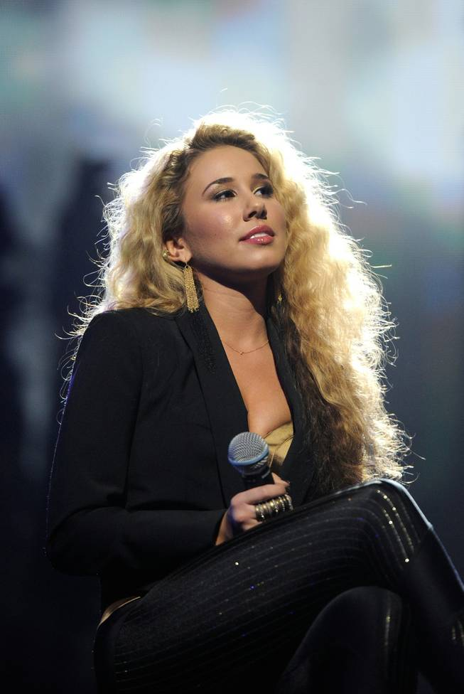 "LAS VEGAS, NV - FEBRUARY 18:  (EXCLUSIVE COVERAGE)  Singer Haley Reinhart performs onstage at the Keep Memory Alive foundation's ""Power of Love Gala"" celebrating Muhammad Ali's 70th birthday at the MGM Grand Garden Arena February 18, 2012 in Las Vegas, Nevada. The event benefits the Cleveland Clinic Lou Ruvo Center for Brain Health and the Muhammad Ali Center.  (Photo by Ethan Miller/Getty Images for Keep Memory Alive)"