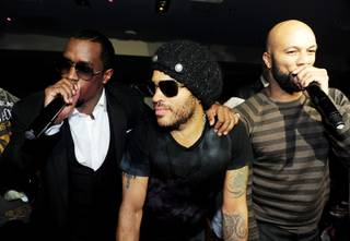 Diddy, Lenny Kravitz and Common perform at 1 OAK in the Mirage on Saturday, Feb. 18, 2012.