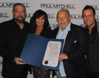 John Paul DeJoria, Marie Osmond, Robin Leach and Angus Mitchell at the Caper Conference at Caesars Palace.