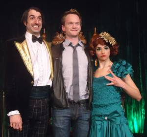 "The Gazillionaire, Neil Patrick Harris and Penny Pibbets at ""Absinthe"" at Caesars Palace."