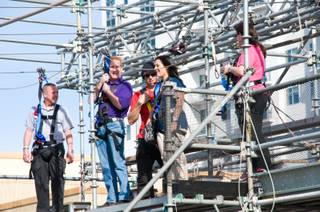 Principals of the 37 top-ranking schools in Clark County took a celebration ride down the Fremont Street zip line Feb. 23, 2012.