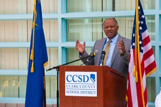 Clark County Superintendent Dwight Jones speaks at Bonner Elementary School during an unveiling of the district's new School Performance Framework, Thursday Feb. 23, 2012.