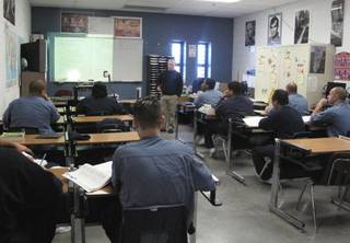 More than 300 inmates at High Desert State Prison in Indian Springs receive adult education and vocational training from the Clark County School District through a partnership with the Nevada Department of Corrections. One classroom at the prison, about 40 miles northwest of Las Vegas, is shown Feb. 24, 2012.