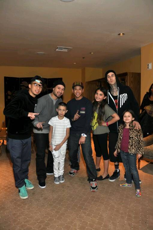 Travis Barker and his kids at Jabbawockeez in the Monte Carlo on Friday, Feb. 24, 2012.