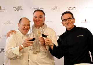 Bradley Ogden, Jose Andres and Rick Moonen toast before more than 300 chefs and sommeliers attempt to break the Guinness World Record for most bottles of wine uncorked simultaneously at the Bellagio on Wednesday, Feb. 29, 2012. The record attempt kicked off the 2012 Vegas Uncork'd by Bon Appetit, which will be held May 10-13.