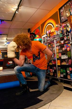 Carrot Top Tebows in his dressing room backstage before a show, March 1, 2012.