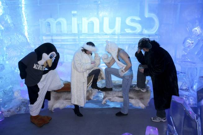 The Minus 5 Ice Bar staff and their mascot Slush.