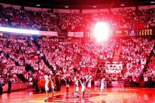 Fireworks go off before the UNLV game against Wyoming at the Thomas  & Mack Center in Las Vegas on Saturday, March 3, 2012.
