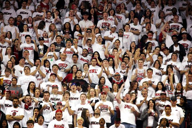 Fans in the student section wear white during the white out during the UNLV game against Wyoming at the Thomas  & Mack Center in Las Vegas on Saturday, March 3, 2012.