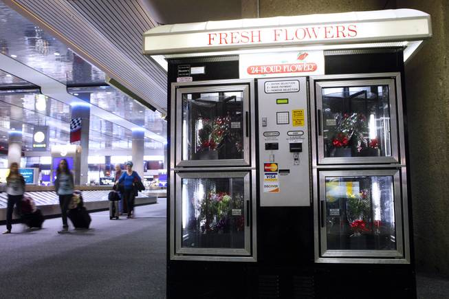 The Fresh Flowers vending machine inside McCarran Airport in Las Vegas on Wednesday, March 7, 2012.