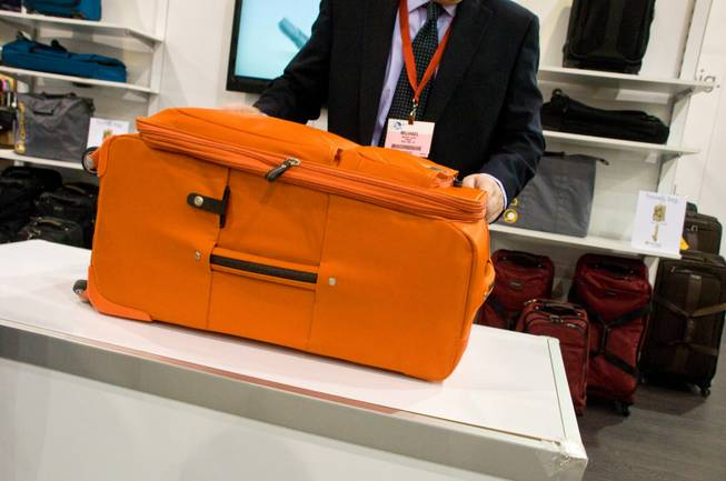A demonstration of foldable Luggage by Biaggi at this year's ...