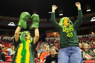 Colorado State fans Lesley Murray, left, and Laura Danielson cheer on their Rams during their Mountain West Conference Tournament game against TCU Thursday, March 8, 2012. Colorado State won 81-60.