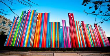 You can't miss this striking, colorful installation at the Smith Center. Snap away.