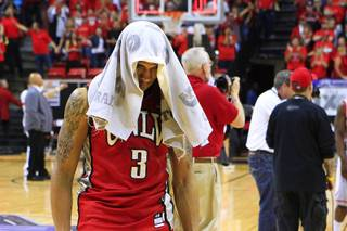 UNLV guard Anthony Marshall heads off the court after their Mountain West Conference tournament semifinal game against New Mexico  Friday, March 9, 2012 at the Thomas & Mack Center. New Mexico won 72-67 and will face San Diego State in the championship game.