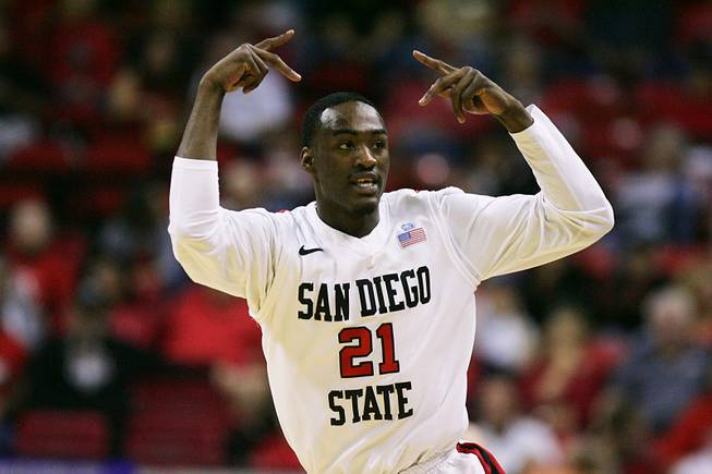 San Diego State guard Jamaal Franklin celebrates his three-point shot against Colorado State during their Mountain West Conference tournament semifinal game Friday, March 9, 2012 at the Thomas & Mack Center.