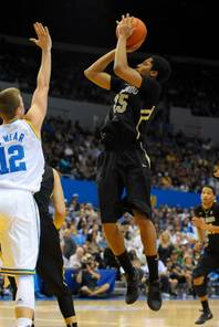 Colorado freshman guard Spencer Dinwiddie, a high school teammates of UNLV's Justin Hawkins, attempts a shot earlier during the 2012 season against UCLA. UNLV and Colorado will play during the 2012 NCAA Tournament, pitting the former Taft High of Southern California players against each other.