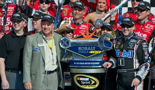 Tony Stewart, right, won the 2012 Kobalt Tools 400 at Las Vegas Motor Speedway on Sunday, March 11, 2012.