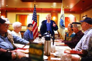 President Clifton Dohrmann speaks to the group during the last meeting of the Pearl Harbor Survivors Silver State Chapter Two at the Grand Cafe at Boulder Station in Las Vegas on Tuesday, March 13, 2012.