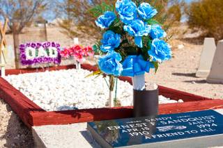 A view of a desert cemetery, established 1906, at Searchlight Nevada, March 14, 2012.