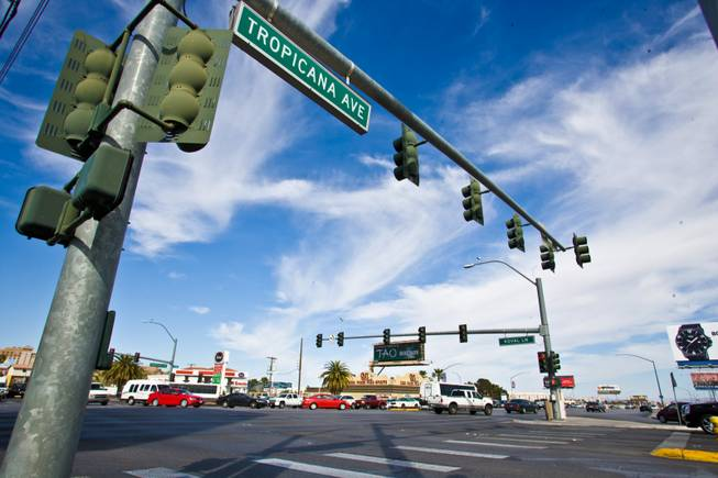 The intersection of Tropicana Avenue and Koval Lane on Thursday, March 15, 2012.