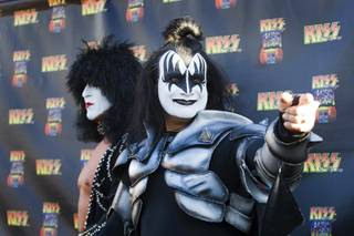 Members of Las Vegas Kiss arrive on the black carpet during the grand opening of Kiss by Monster Mini Golf at 4503 Paradise Road Thursday, March 15, 2012.
