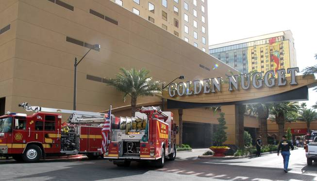 A fire in a room at the Golden Nugget critically injured an unidentified man Thursday morning, forcing the evacuation of several floors in one tower. Fire investigators have not determined what caused the blaze.