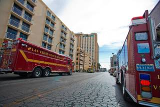 Las Vegas Fire and Rescue crews respond to a guest-room fire on the 22nd floor of the Golden Nugget downtown Thursday, March 15, 2012.