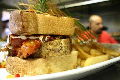 Hash House a Go Go's signature Kokomo meatloaf sandwich is another good option for hungry partygoers this St. Patrick's Day.
