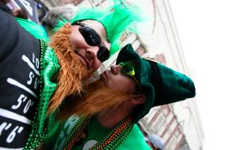 Visiting from Kansas, Scott Grogg, right, goofs around with his friend, Justin King, while celebrating St. Patrick's Day at the last O'Sheas' St. Patrick's Day block party before it closes on the Las Vegas Strip Saturday, March 17, 2012.