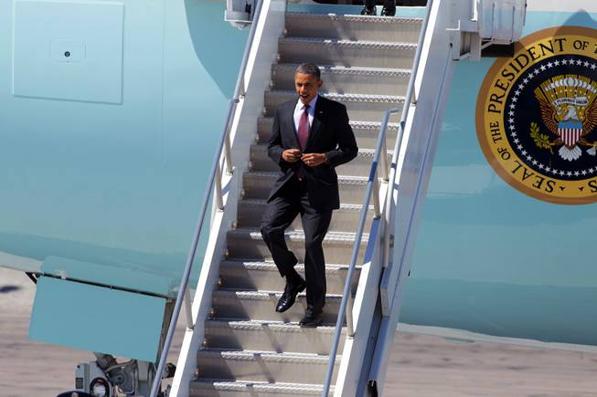 President Barack Obama arrives at McCarran Airport in Las Vegas on Wednesday, March 21, 2012.