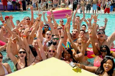 It wasn't too cold for revelers to get in the Palms pool to celebrate spring break for MTV's cameras in Las Vegas on Tuesday, March 20, 2012. The party continues through Thursday.