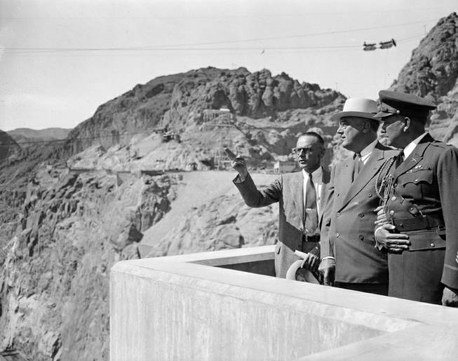 Franklin Delano Roosevelt at the Hoover Dam.