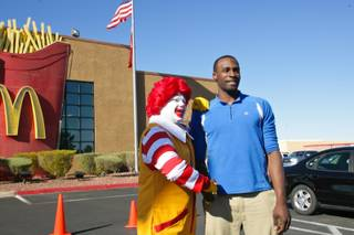 Bishop Gorman High senior Shabazz Muhammad and Ronald McDonald are photographed during a ceremony celebrating three locals picked for the McDonald's All-American game March 21, 2012, at the McDonald's on Sahara Avenue and Rainbow Boulevard.