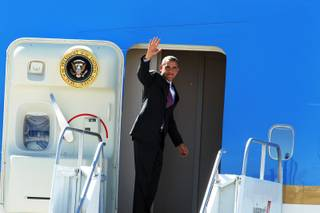 President Barack Obama departs from McCarran Airport in Las Vegas after delivering an energy policy speech at a solar plant in Boulder City on Wednesday, March 21, 2012.