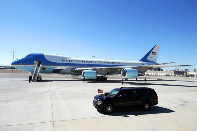 The motorcade arrives back at McCarran Airport in Las Vegas after President Barack Obama delivered an energy policy speech at a solar plant in Boulder City on Wednesday, March 21, 2012.