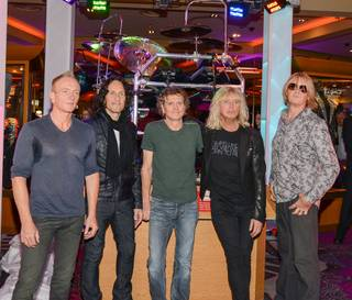 Def Leppard memorabilia is unveiled at The Hard Rock Hotel in Las Vegas on Thursday, March 21, 2013.