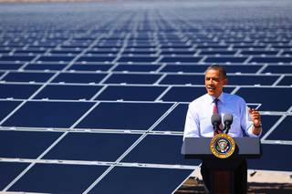 President Barack Obama speaks during a visit to Sempra U.S. Gas & Power's Copper Mountain Solar 1 photovoltaic plant Wednesday, March 21, 2012 south of Boulder City.