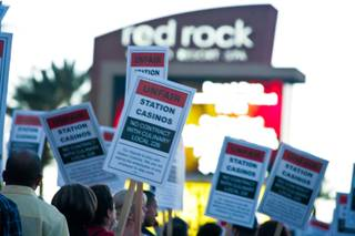 Hundreds of Las Vegas culinary workers gathered Thursday evening in front of Red Rock Resort & Casino to protest Station Casino's anti-unioness, Thursday March 22, 2012.