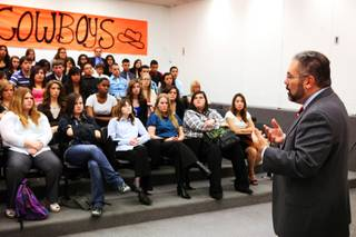 Ray Suarez of PBS NewsHour speaks with Chaparral High School students about graduation rates and education at the school in Las Vegas on Wednesday, March 28, 2012