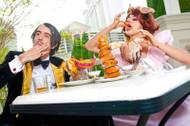 "The Gazillionaire and Penny Pibbets from ""Absinthe"" chow down after a long day at Caesars Palace."
