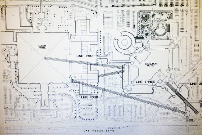 Blueprint sketches of zip lines that are planned to run between the Luxor and Excalibur.