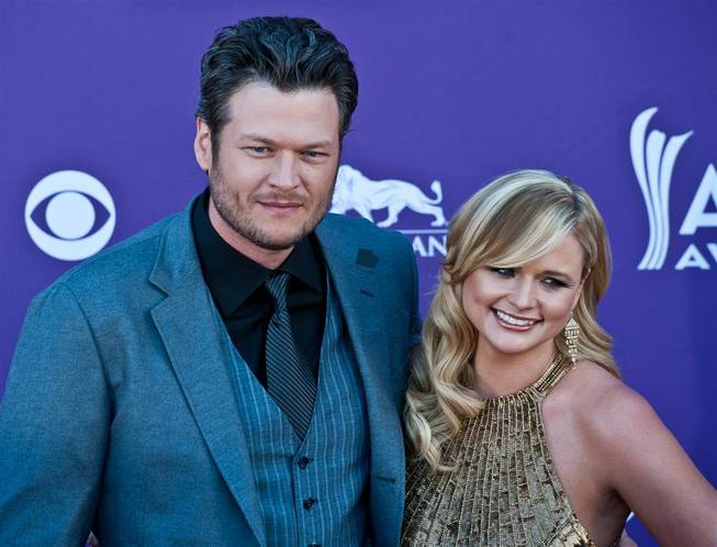 Blake Shelton and Miranda Lambert arrive at the 47th Annual Academy of Country Music Awards at MGM Grand Garden Arena on Sunday, April 1, 2012.