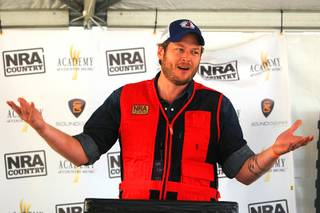 Blake Shelton speaks before the NRA Country/ACM Celebrity Shootout on Saturday, March 31, 2012.