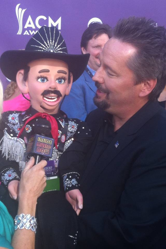 Terry Fator and Walter T. Airedale. Fator is on the right.