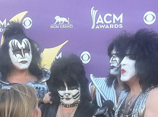 KISS at the ACMs walking the red carpet at MGM Grand Garden Arena on Sunday, April 1, 2012.