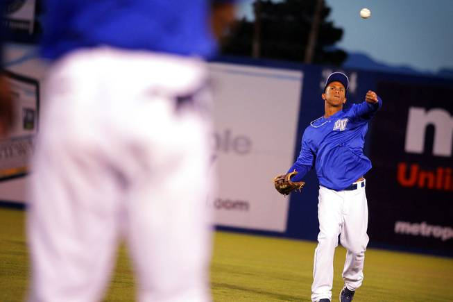 Outfielder Anthony Gose warms up during Las Vegas 51s practice at Cashman Field in Las Vegas on Wednesday, April 4, 2012.
